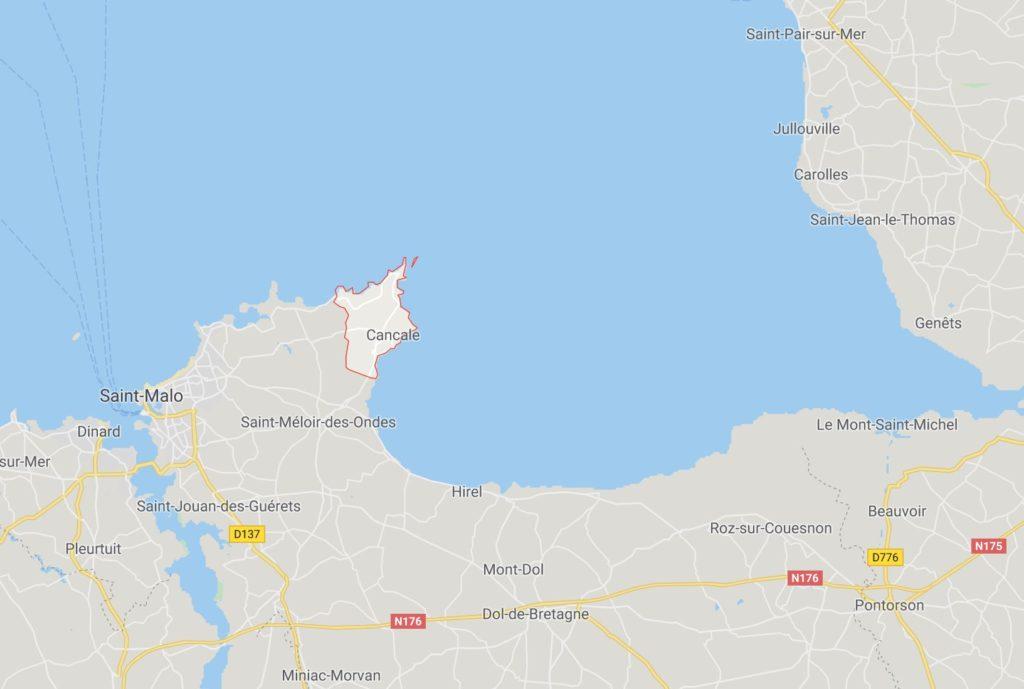 Carte montrant où se trouve la ville de Cancale